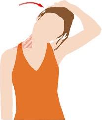 首の伸ばしたい方と反対側の手で 引っ張りながら首を傾けます。 必ず首の力を抜いてリラックスして行って下さい。